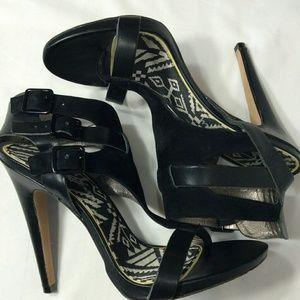 Sam Edelman Lucia Leather Black Strap Heels